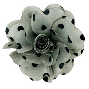Grey/Black Men's Polka Dot Lapel Pin Flower