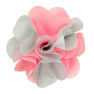 Baby Pink/Silver -Men's Two Tone Lapel Pin Flower