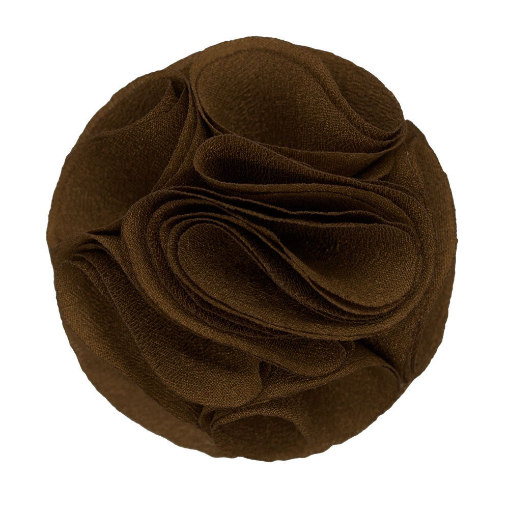 Brown Men's Solid Lapel Pin Rose