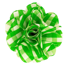 Lime/Metallic Plaid Lapel Pin Flower