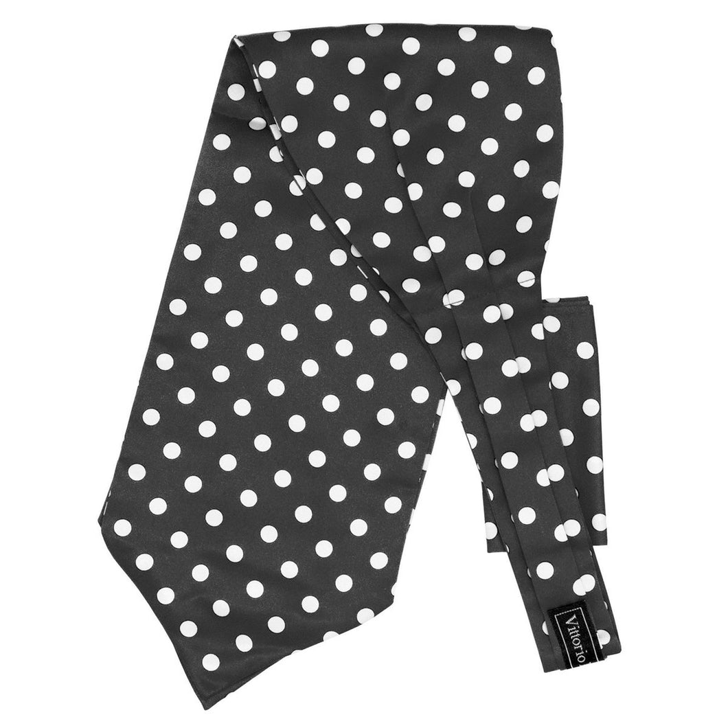 Black Ascot w/ White Polka dots