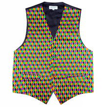 Load image into Gallery viewer, Mardi Gras Harlequin Print Vest & Bow tie ONLY