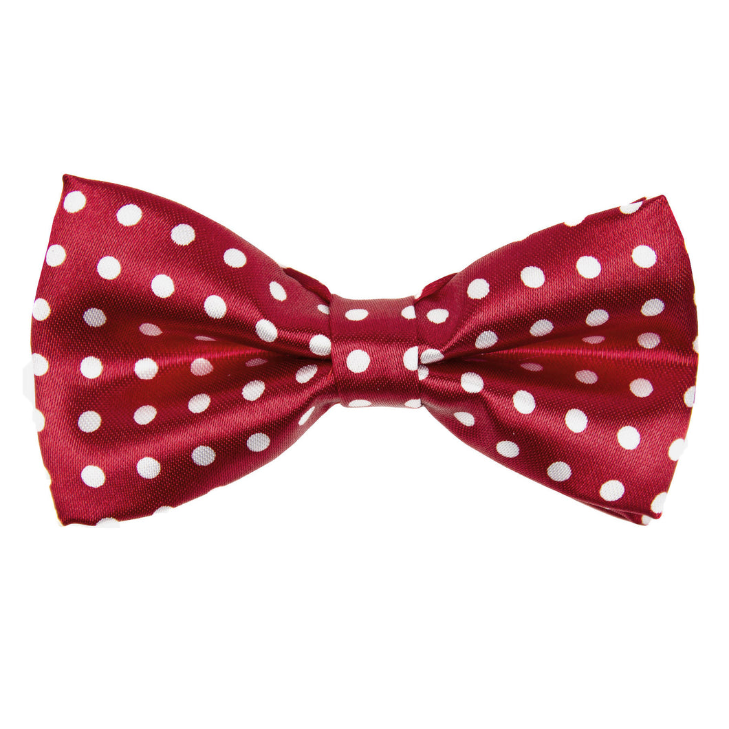 Brick Red & White Polka dot Bow Tie