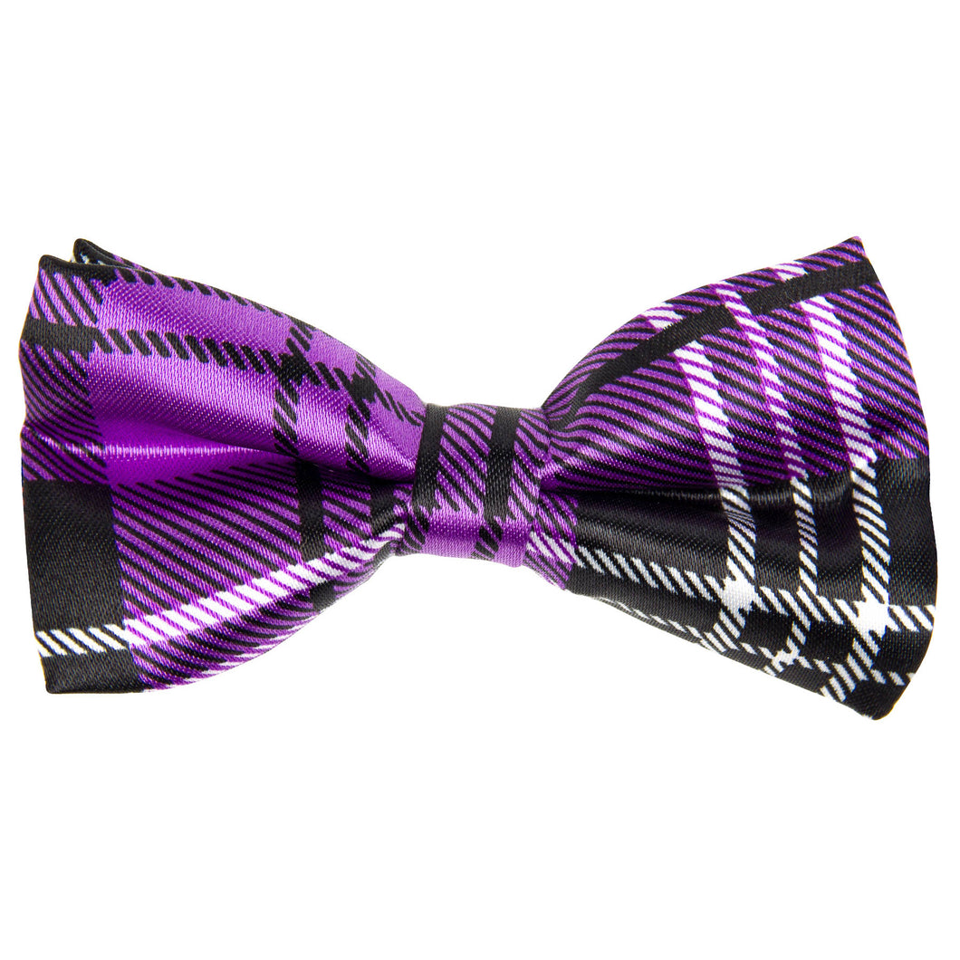 Purple & Black Tartan Print Bow Tie