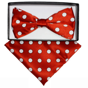 Red & White Polka dot Bow tie set