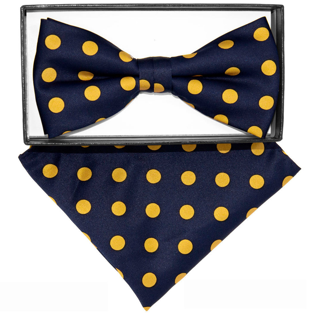 Navy & Gold Polka dot Bow tie set