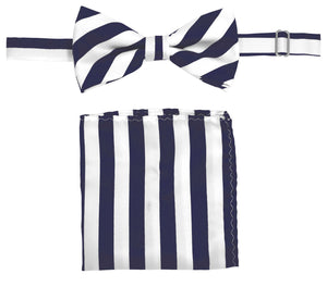 Navy/White Striped Bow Tie Set