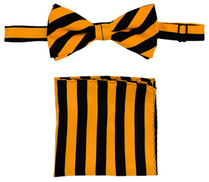 Gold/Black Striped Bow Tie Set