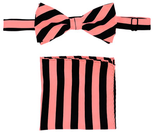 Pink/Black Striped Bow Tie Set