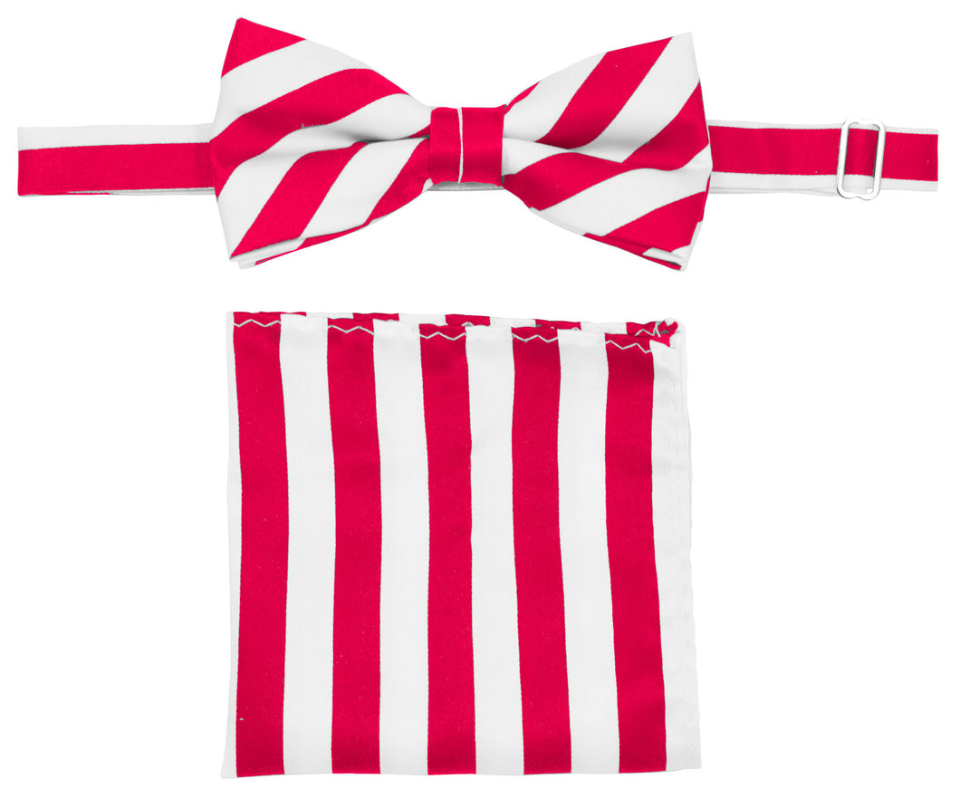 Hot Pink/White Striped Bow Tie Set