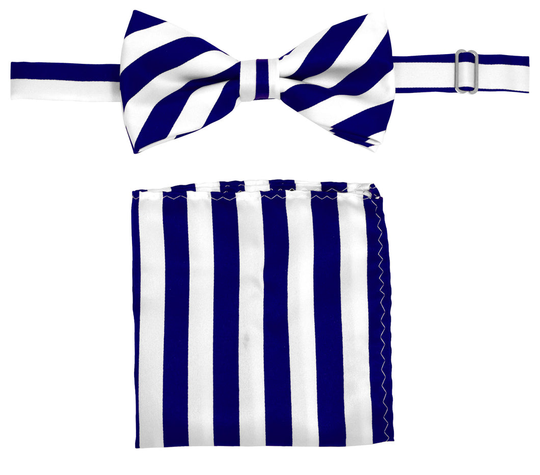 Royal/White Striped Bow Tie Set