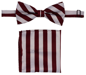 Burgundy/Silver Striped Bow Tie Set