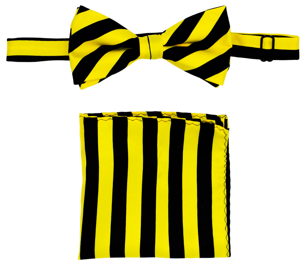 Lemon/Black Striped Bow Tie Set