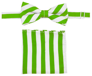 Lime/White Striped Bow Tie Set