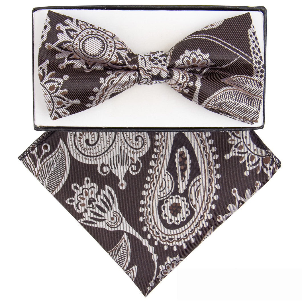 Brown & Tan Paisley Print Bow Tie