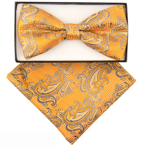 Yellow Orange Paisley Print Bow Tie