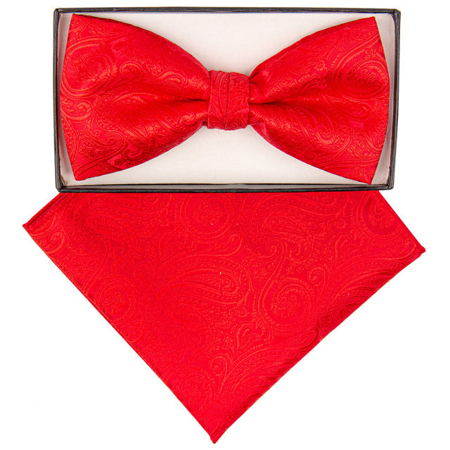 Red Paisley Print Bow Tie