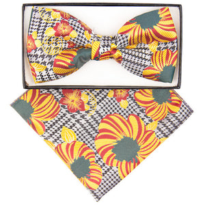 Red, Yellow and Forest Green Cherry Blossom Bow Tie