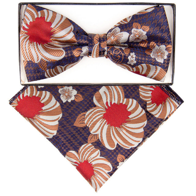 Ivory, Tan & Red Cherry Blossom Bow Tie