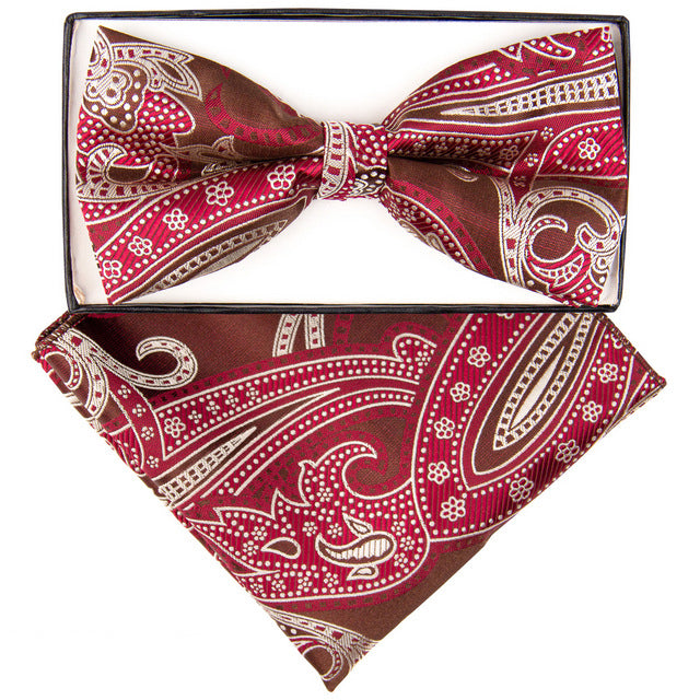 Brown, Wine & Tan Large Paisley Print Bow Tie