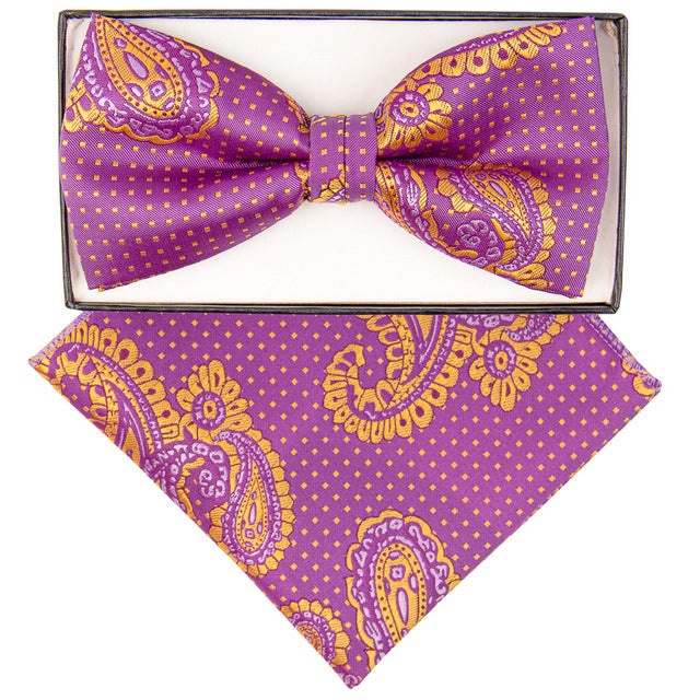 Purple & Gold Paisley Print Bow Tie