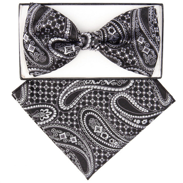 Black & White Checkered Paisley Print Bow Tie