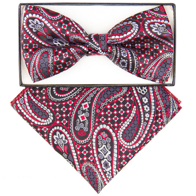 Red & Charcoal Checkered Paisley Print Bow Tie