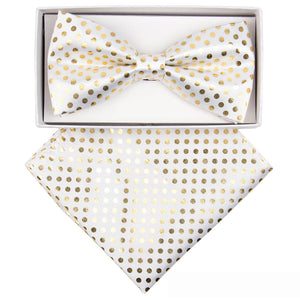 White/Gold Metallic Polka dots