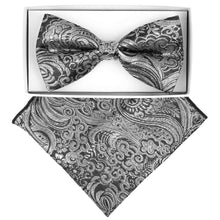 Load image into Gallery viewer, Black/Silver Paisley Metallic Print
