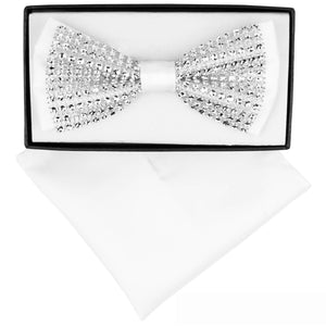 White Clear Crystal Rhinestone Bow Tie Set