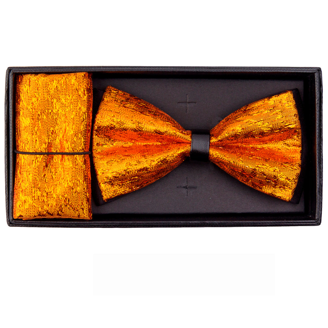 Orange Metallic Necktie/handkerchief set