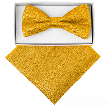 Load image into Gallery viewer, Gold Metallic Bow tie and Hanky set