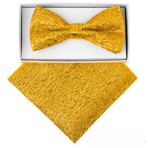 Gold Metallic Bow tie and Hanky set