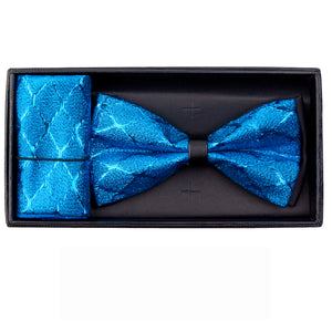 Turquioise Metallic Bowtie and Hanky Set