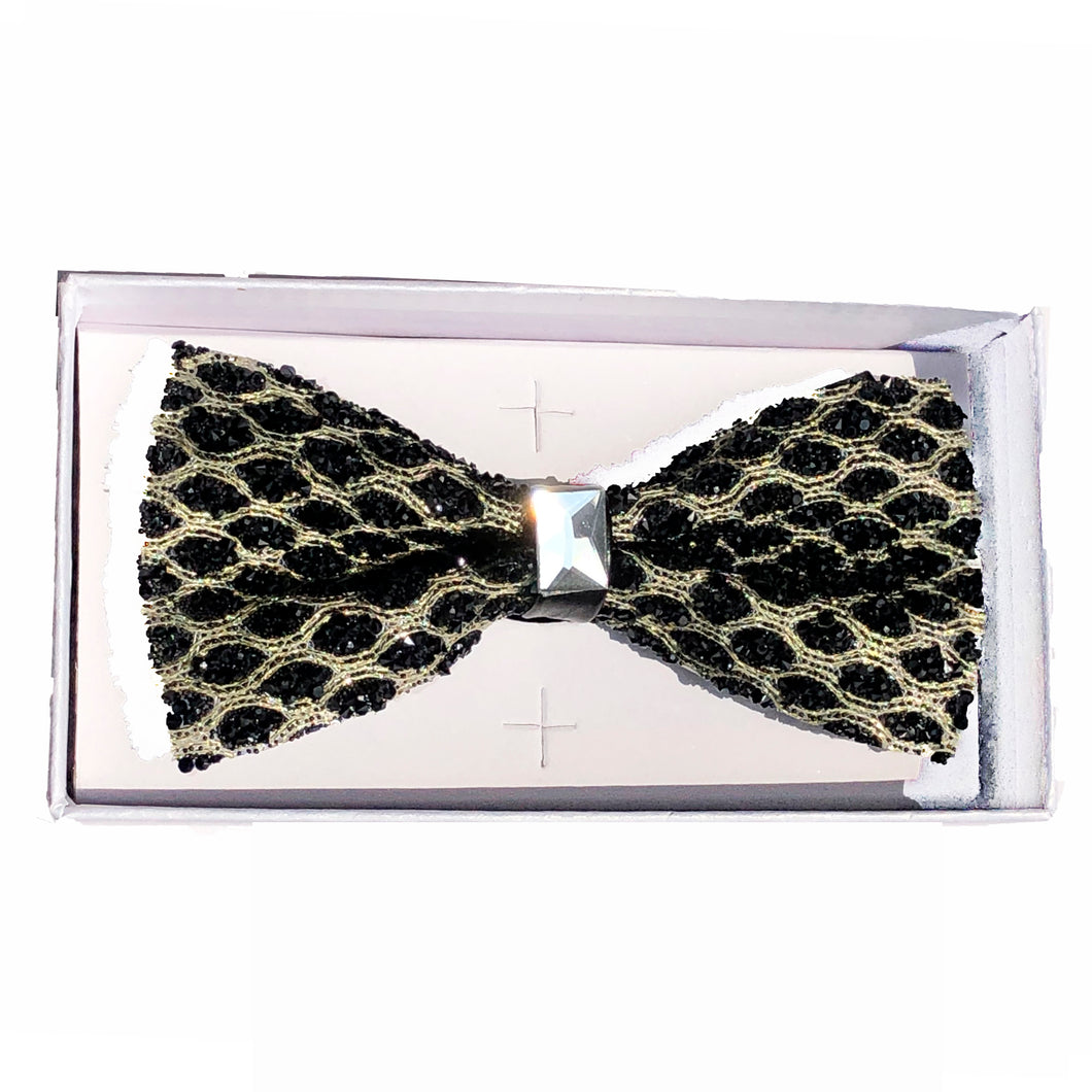 Black/Gold Jeweled bow tie