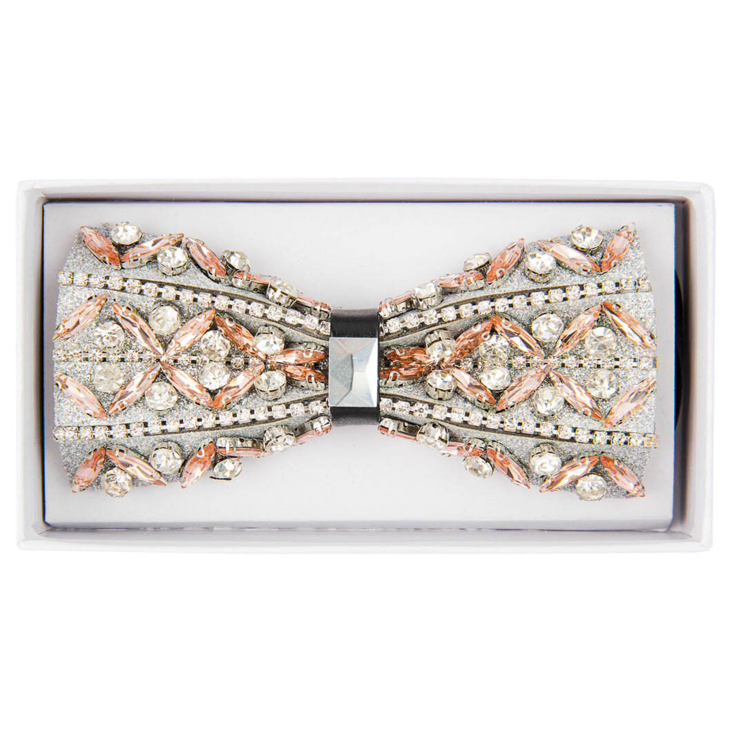 Peach/Clear Jeweled bow tie
