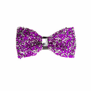 Purple/Clear Glittery Rhinestone Bow tie