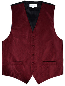 Burgundy Paisley Vest Set