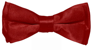 Burgundy Boys Solid Pretied Silky Bow Tie Only