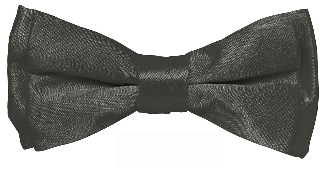 Charcoal Boys Solid Pretied Silky Bow Tie Only