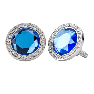 Light Blue Sapphire Center stone Cufflink w/ Silver Setting