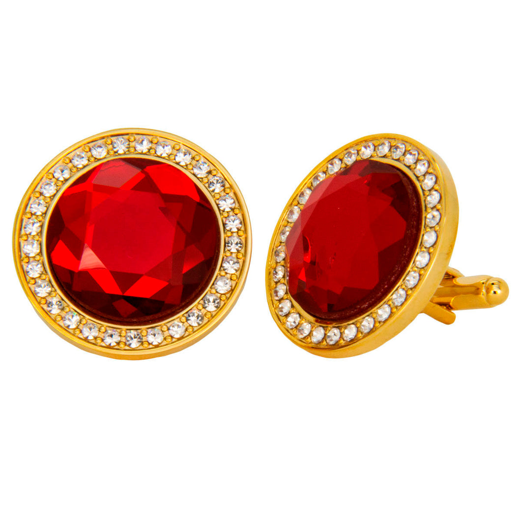 Ruby Red Center stone Cufflink w/ Gold Setting