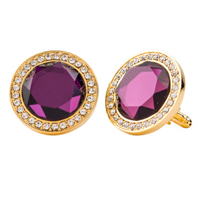Amethyst Colored Center stone Cufflink w/ Gold Setting