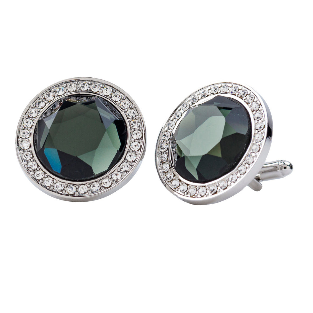 Charcoal Center stone Cufflink w/ Silver Setting