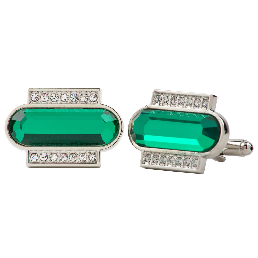 Emerald Colored Capsule Stone Cufflink w/ Silver Setting