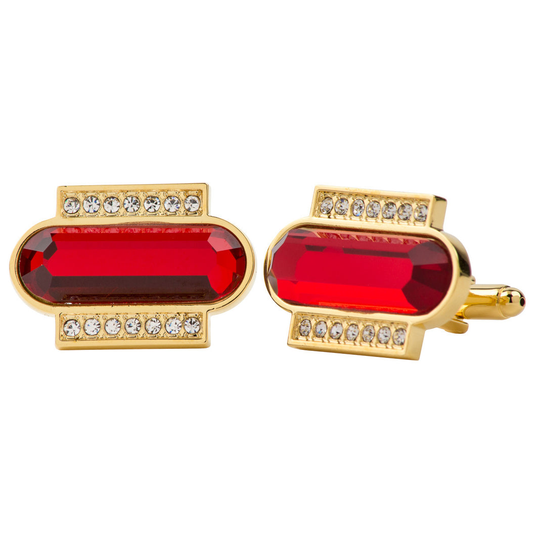 Red Colored Capsule Stone Cufflink w/ Gold Setting