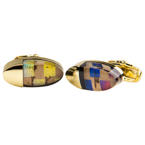 Multicolored Oval Cufflink Set w/ Gold Accent