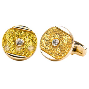 Liquid Gold w/ center stone Cufflink Set in Gold