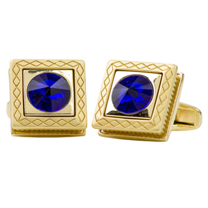 Gold Box w/ Sapphire Colored Center Stone Cufflink Set