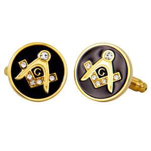 Gold Round Masonic Cufflinks with Stones
